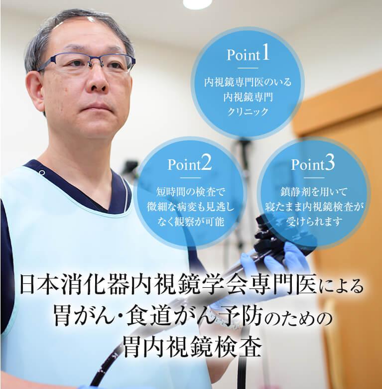 日本消化器内視鏡学会専門医による胃がん・食道がん予防のための胃内視鏡検査